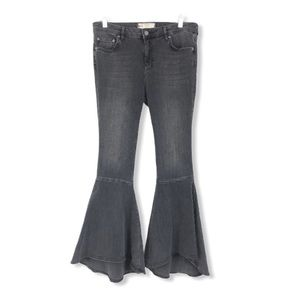 Free People Flared Bell Bottom Jeans Faded Black